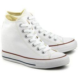 Chuck Taylor All Star Lux - Białe Canvasowe High Top Damskie - 547200C